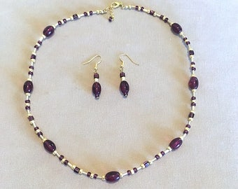 Purple & Gold Glass Bead Necklace w/Earrings, Necklace Set, Seed Bead Necklace, Handmade Beaded Jewelry, Wedding Bridesmaid Jewelry Gift
