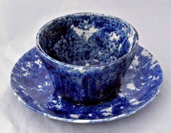 Very Rare Large 19th C Handleless Dark Blue Spongeware MUSH CUP & SAUCER Cup has OLd Hairline All In Very Good Vintage Condition