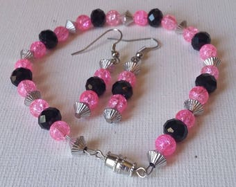 Pink and Black Swarovski Crystal Bracelet and Earrings Set