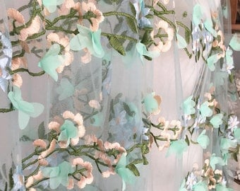 Exquisite 3D Embroidery Lace Fabric with Chiffon Blossom , Soft Tulle Flroal Embroidery Wedding Lace Fabric Material , Fabric by Yard