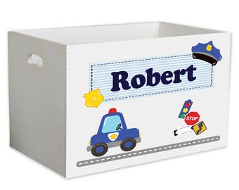 Personalized  Childrens Nursery White Open Toy Box Law Enforcement Enforce Blue And White Gray ybin-215e
