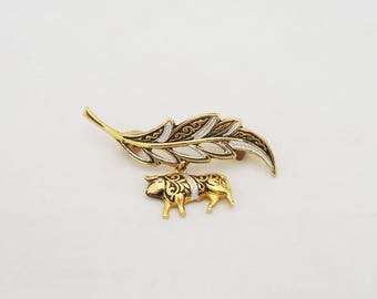 Vintage Bull Brooch, Damascene Leaf Brooch, Damascene Jewellery, Damascene Pin