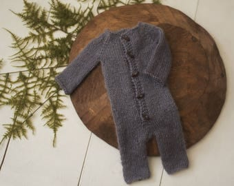 Long sleeve sleeper romper newborn knit photography prop