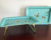 Turquoise Butterfly Bed Tray / Vintage Metal Lap Tray / Folding Legs / TV Tray Table / Lap Table / Butterfly Decor  / 2 Available