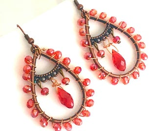 Red & Copper Wire Wrapped Dangle, Red Beaded Earrings, Gifts for Her