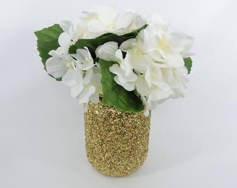 Gold Glitter Mason Jar for Wedding Decor, Baby Shower Decor, Graduation Party Decor, Birthday Party Decor