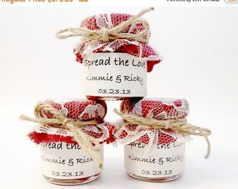 SALE 15% Off Ends Sunday 150 mini 2 oz. mason jars with fabric, bow, lace and label in red fabric
