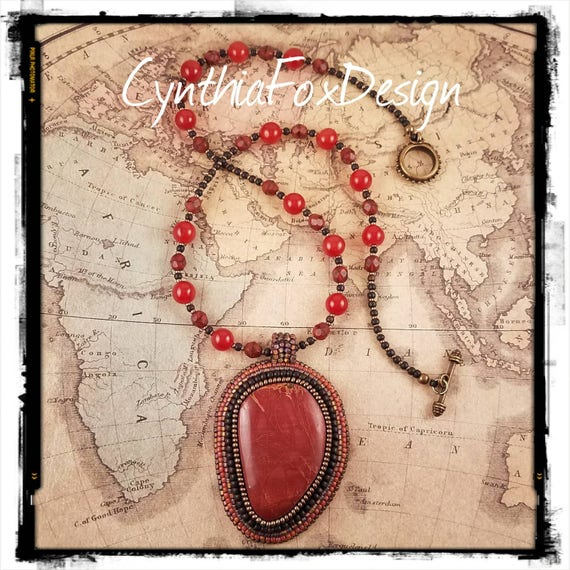 Red Jasper Pendant with Rich Carnelian Orange Necklace