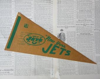 Vintage New York Jets NY Jets Sepia Football Pennant 1970s Era Small 12 Inch Aged  Mini Felt Pennant Banner Flag Vintage NFL Display Sports