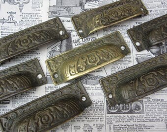 Price per Handle Antique Solid Brass Drawer Pull Apothocary Cabinet Victorian Old Architectual Vintage Hardware Cabinet Pulls Cup Pull Knob