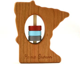 Wooden Rattle - Personalized Baby Toy - Pick Any State - Home Grown Wooden Baby Rattle - Christmas or Nursery Gift