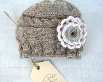 Knit  Baby Hat, Baby Girl Hat, Newborn Beanie, Baby Newborn Hat, Baby Girl Beanie, Newborn Baby Hat, Knit  Hat, Newborn Prop