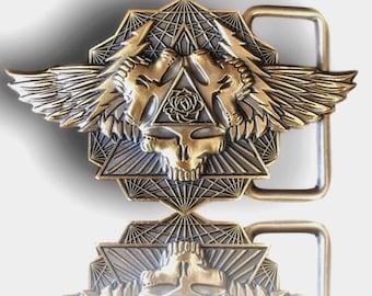 Belt Buckle - Antique Gold Plated Wings Spread Bright - Grateful Dead - Mongo Arts - Belt Buckle