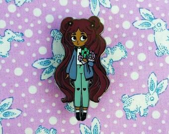 Bloomin' Lovely Hard Enamel Lapel Pin // Periwinkle Choc Variant // Wearable Art, Jewelery, Flowers, Chibi, Cute, Kawaii, Girl
