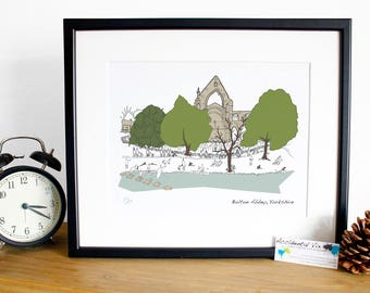 Bolton Abbey, Yorkshire Print - Original art illustrative print, 10x12, Father's Day print