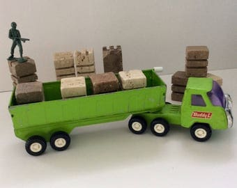Buddy L Tractor Trailer - green DumpTruck - 80s - Man Cave Decor - truck collector gift - Made in Japan