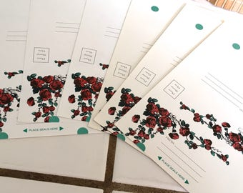 """Vintage 70's  """"FOLD OVER MAILERS"""" in a Rose Vine Theme"""