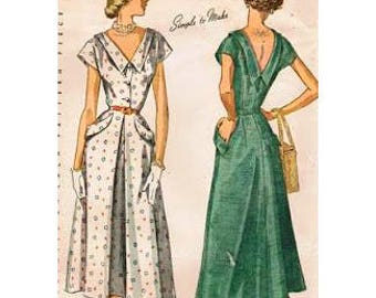 1950s Style deep V Neck Summer Dress Aline Skirt and Pockets Custom Made In Your Size From a Vintage Pattern