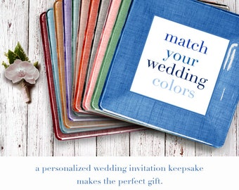 custom tray using wedding invitation - personalized gift for couples - wedding keepsake - match wedding colors - thank you gift for parents