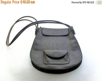 SALE 20% off Vintage Leather Bag, Shoulder Bag, 80s leather handbag, Deep Brown Color, Unique ornament