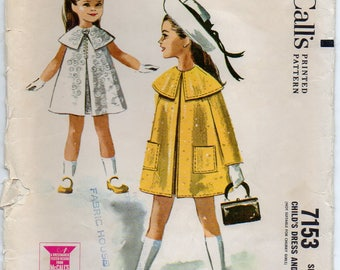 Children's Sleeveless Dress Inverted Pleat Center Front And Back Unlined Coat Girl's Size 6 Used Vintage Sewing Pattern 1963 McCall's 7153