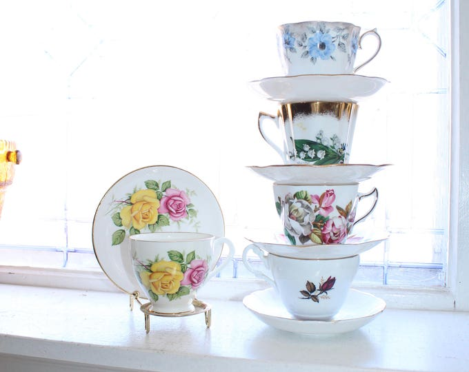 5 Vintage Tea Cups and Saucers Mix and Match Bone China