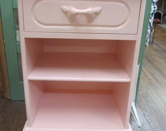 Hand Painted Pink Night Stand Nightstand Shabby Vintage Farmhouse Prairie Cottage Chic