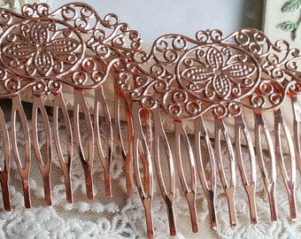 54 mm x 40 mm Rose Gold Hand made Hair Comb Finding with Setting (t.sa)
