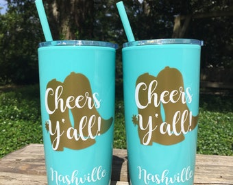 8 Nashville Bachelorette Party Cups /  Yeti like Personalized Cup with lid and Straw / Party Favors / Nash Bash / Nashville Bachelorette