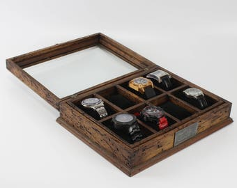 Watch Box for Men, Watch Box, Watch Case, Men's Watch Box, Wood Watch Box, Watch Display, Anniversary Gift - Custom Watch Box for 8 watches