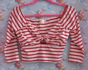 Nautical Sailor Cropped Top for Pinups - Bow Knot Blouse with 3/4 Length Sleeves in Red and White Stripes Size Small