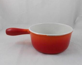 Vintage Descoware 7-B 16 Cherry Flame Sauce Pan Pre Le Creuset