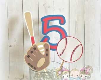Baseball themed centerpiece- Paper party decorations- Any age and color scheme available!