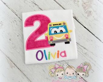 School bus birthday shirt - bus themed birthday shirt - school themed birthday shirt - girls school bus birthday shirt - rainbow school bus