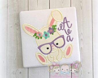 Easter bunny shirt with glasses and flower crown- personalized Easter shirt for girls - embroidered 1st Easter shirt for girls