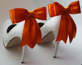 Orange  Shoe Clips, Bridal Shoe Clips, Satin Bow Shoe Clips, Shoes Clips,  Shoe Clips for Wedding Shoes, Bridal Shoes, MANY COLORS