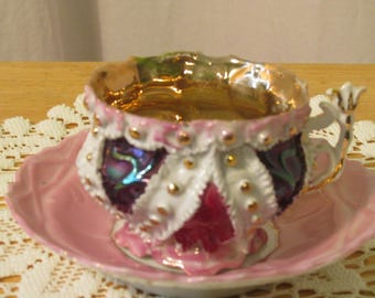 Vintage Lusterware Tea Cup and Saucer