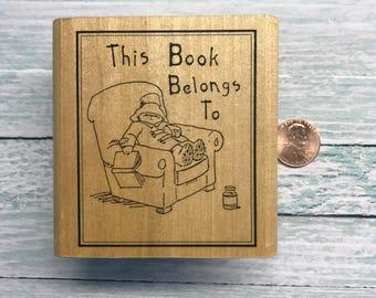 Retired Paddington Bear Bookplate Rubber Stamp