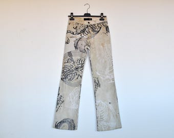 Vintage Rare 90s Original Just Cavalli Jeans Ancient Sea Maps Print Denim Pants