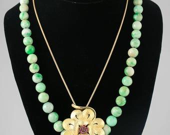 14K gold Ruby Flower Necklace