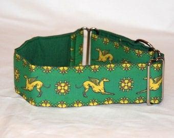 "2"" Martingale Dog Collar Greyhound Angels - Gold on Green"
