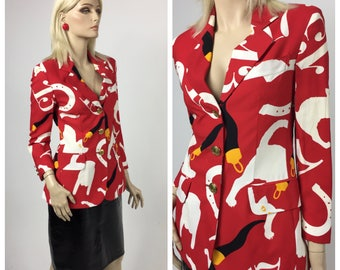 Iconic Moschino Cheap and Chic Pop Art Blazer Vintage 90's -  Lucky Print - Cat, Lucky 13 & Horse Shoe Print - Rare Collectible Piece- EU 36