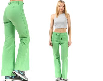 Retro Bell Bottom Pants 70s Super Flare Canvas Zip Up Pants High Waisted Green Bold Fitted Hips 1970s Vintage Trousers Hippie Boho Medium