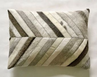 Cowhide Lumbar Pillow - Gray White Patchwork Cushion - 13 x 18 in