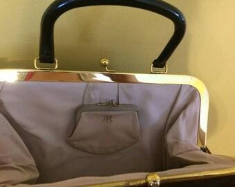 Vintage Black Patent Leather JR Handbag 1960 Midcentury Julius Resnick