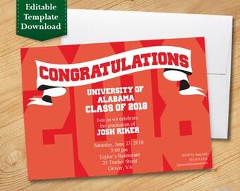 Red and White Graduation Invitation Template, High School, College Graduation, Graduation Party 2018