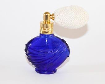 """Miniature cobalt blue glass perfume atomiser. 2 1/4"""" high"""