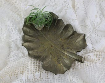 Vintage Brass Leaf Dish - Solid Brass Table Centerpiece Tray Large Leaf Design