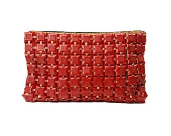 1940s Red Plasticflex Clutch Purse // Vintage WW2 Era Woven Plastic Tile Handbag // Rare Collectible Cherry Red Bag