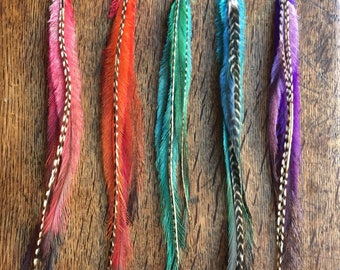 Long Feather Hair Extension Clips, Hair Feathers, Feather Hair Clip, Feather Hair Extensions, Clip in Extensions, Boho Hair Accessory, Gifts